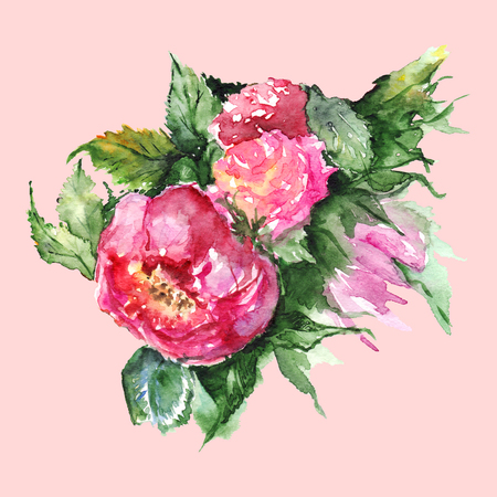 Watercolor flower floral peony boutonniere isolated illustration. Stock Photo