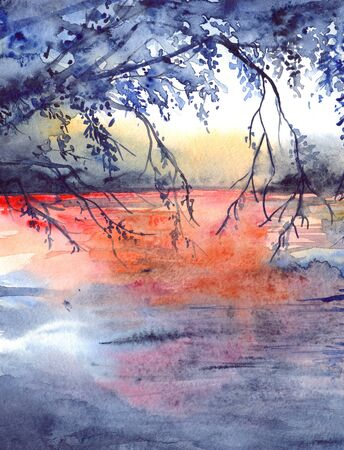Watercolor evening sunset tree branches river lake landscape.