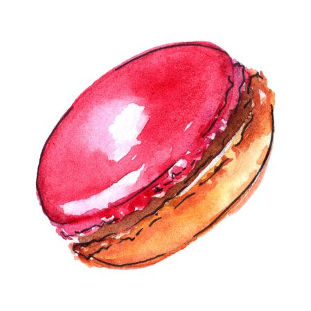 macaron: Watercolor sweet baked dessert macaroon almond cookie isolated.
