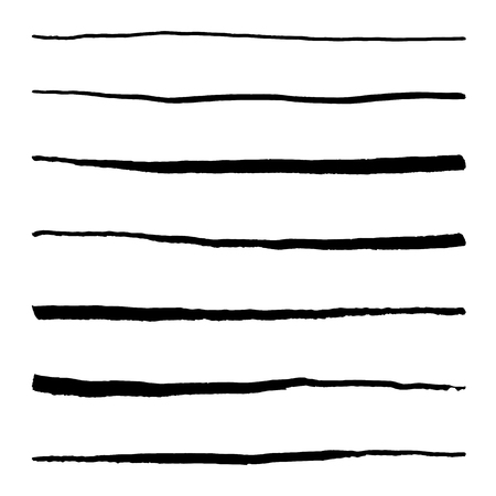 Monochrome black and white abstract line stroke set vector. Vectores