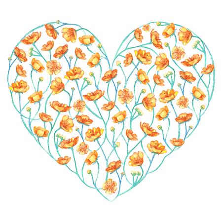 Gelbes Butterblumeblumenblumendes Herz des Aquarells lokalisiert. Standard-Bild - 78333514