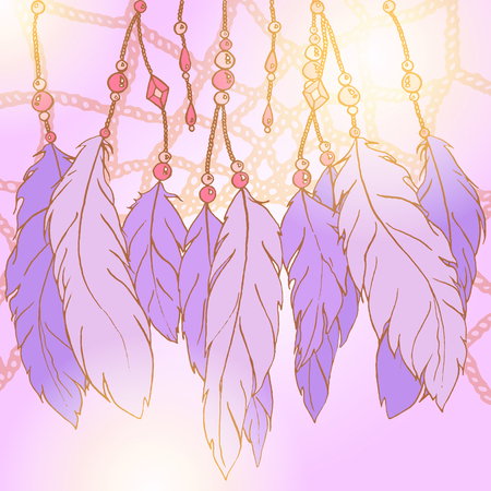 Ethnic feather bead dream catcher background vector.