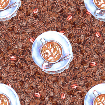 coffee beans: Watercolor cup of coffee drink beans arabica seamless pattern.