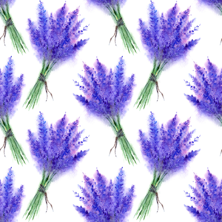 Watercolor lavender flower floral bouquet seamless pattern texture background.