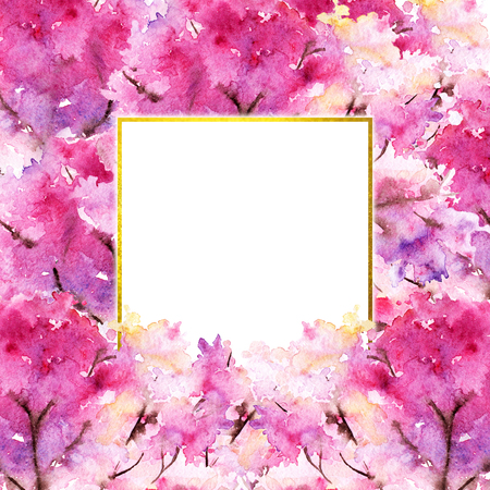 Watercolor pink cherry sakura flower floral tree romantic frame border illustration. Stock Photo