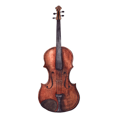 Watercolor wooden vintage violin fiddle musical instrument isolated. Stock Photo