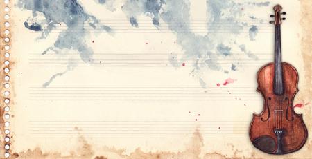 Fondo retro del grunge de la textura del fondo del marco del instrumento musical del violín de la hoja de la música de la acuarela del vintage.
