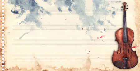 Vintage retro watercolor music sheet violin musical instrument frame background texture grunge backdrop.