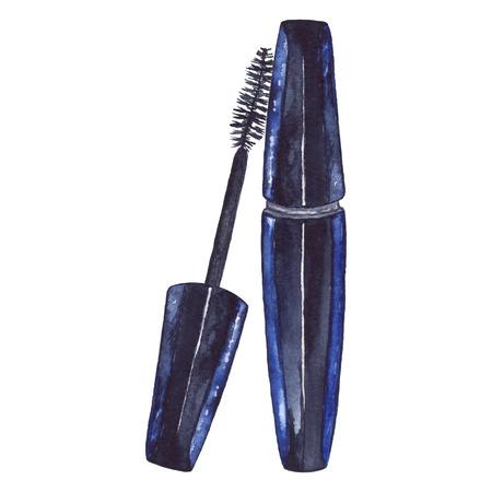 Les cosmétiques de brosse de mascara des femmes aquarelles composent isolé. Banque d'images - 85443581