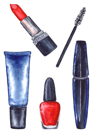 Watercolor womens mascara and cream tube and red lipstick and nail polish manicure cosmetics make up set isolated.