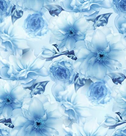Blauwe kersen sakura bloem bloemen blauwe digitale kunst naadloze patroon textuur achtergrond. Stockfoto