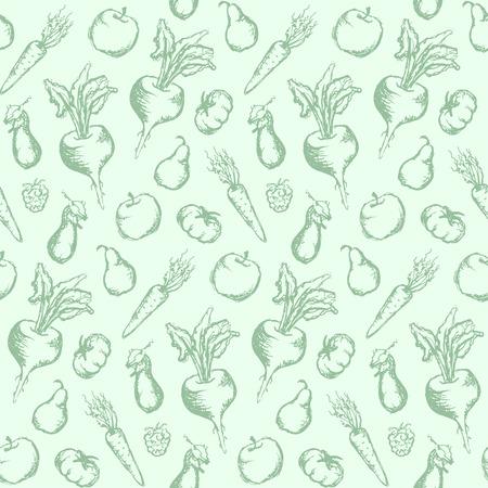 Plantaardige de textuur van het fruit zwart-wit inkthand getrokken vastgestelde naadloze achtergrondvector. Stock Illustratie
