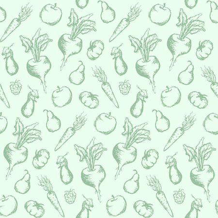 Vegetable fruit monochrome ink hand drawn set seamless pattern texture background vector.