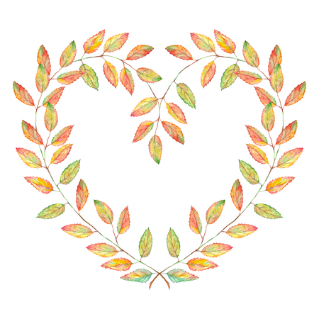 Watercolor nature love heart shaped leaf plant branch wreath frame isolated.