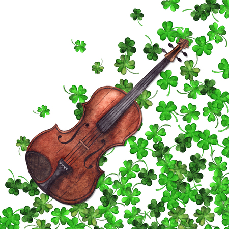 수채화 나무 빈티지 바이올린 바이올린 악기 클로버 기네스 잎 식물 패턴 배경.