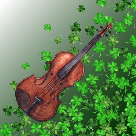 Watercolor wooden vintage violin fiddle musical instrument clover shamrock leaf plant pattern background. Stock Photo
