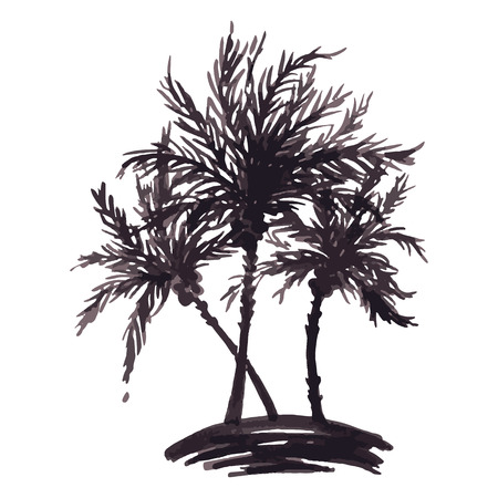 Monochrome three tropical palm tree sea ocean beach hand drawn sketch vector.