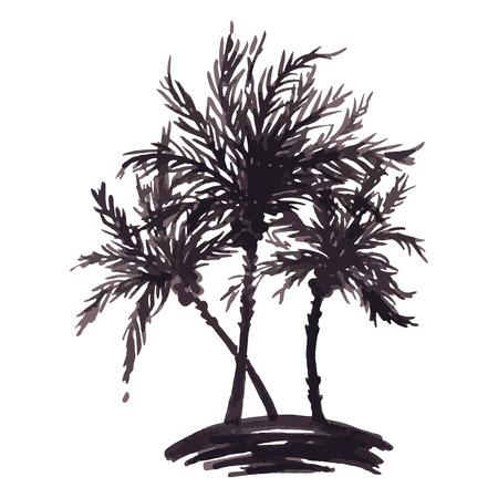 Monochrome three tropical palm tree sea ocean beach hand drawn sketch vector.