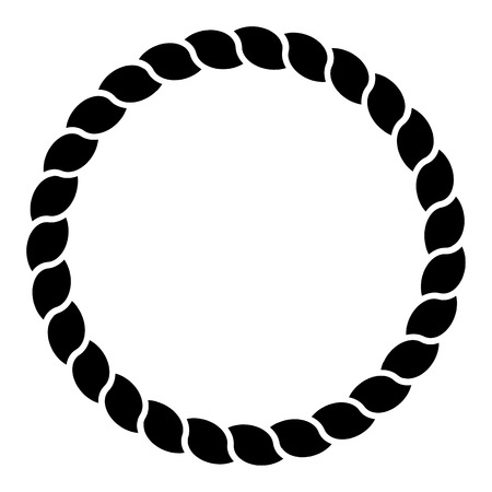 Monochrome black and white circle rope frame line art isolated vector.