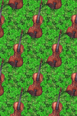 Watercolor wooden vintage violin fiddle musical instrument clover shamrock leaf plant Ireland seamless pattern texture background. Stock Photo