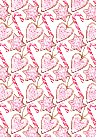 Watercolor Christmas candy cane ginger biscuits background pattern texture.