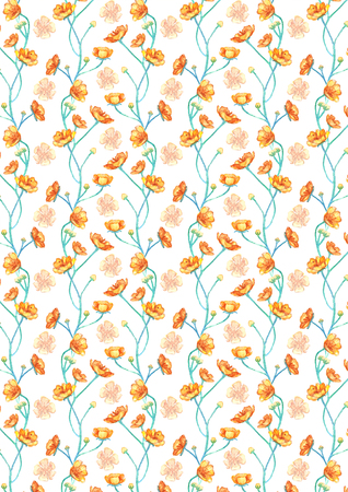 Aquarell gelbe Butterblumen Blume Muster Hintergrund Standard-Bild - 101037256