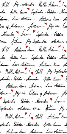 Autumn word phrase italic lettering typographic ink hand drawn monochrome black and white red art vector seamless pattern texture background.