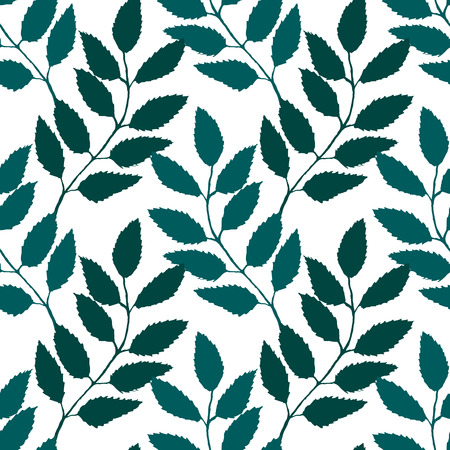 Monochrome turquoise green rowanberry ashberry leaf branch silhouette botanical illustration seamless pattern texture background vector.