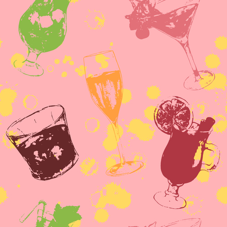 Sketched print art exotic drink alcohol cocktail seamless pattern texture background vector. Çizim