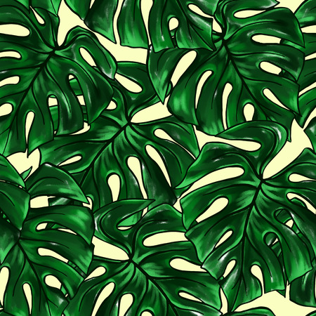 Green monstera leaf tropical plant watercolor ink line art hand drawn sketch seamless pattern texture background. Stok Fotoğraf