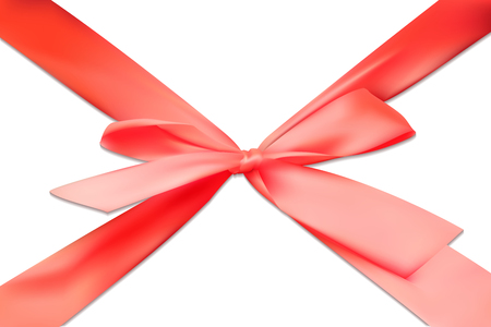 Realistic 3D red scarlet bow tape ribbon gift isolated vector. Çizim