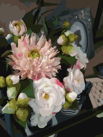 Watercolor 3D realistic romantic flowers bouquet composition peony dahlia home decor still life vector. Ilustração