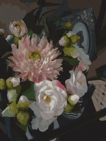 Watercolor 3D realistic romantic flowers bouquet composition peony dahlia home decor still life engraving vector.
