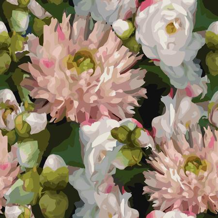 Watercolor 3D realistic romantic flowers bouquet composition peony dahlia rose seamless pattern texture background vector. Stok Fotoğraf - 114960342
