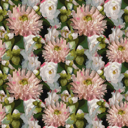 Watercolor 3D realistic romantic flowers bouquet composition peony dahlia rose seamless pattern texture background vector.