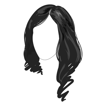 Monochrome female long brunette haircut hairstyle hair face fashion sample sketched hand drawn art illustration isolated vector.