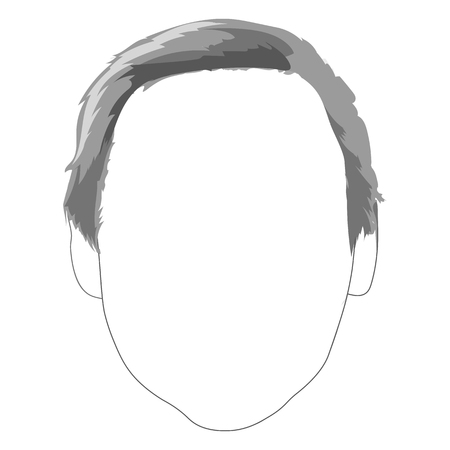 Monochrome male haircut hairstyle hair face fashion sample sketched hand drawn art illustration vector. Çizim
