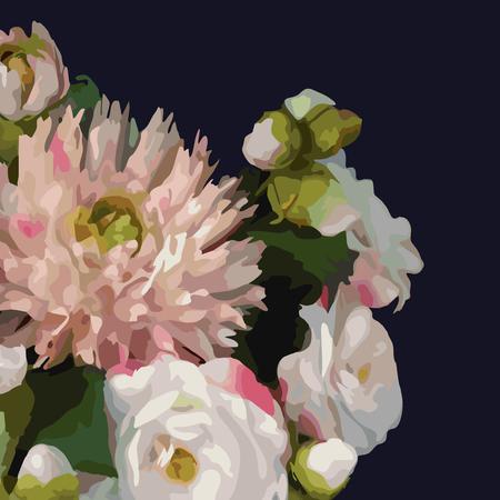 Watercolor 3D realistic romantic flower floral bouquet composition peony dahlia rose vector.