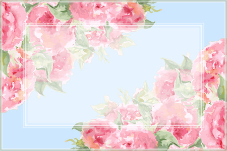 Watercolor pink tea rose peony flower floral composition frame border temple background vector. Çizim