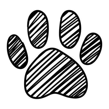 Monochrome black and white dog cat pet animal paw foot isolated hand drawn ink sketch art vector.