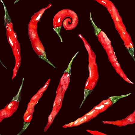 Watercolor red hot chili chilli spicy pepper seamless pattern texture background.