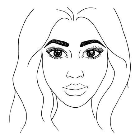 Monochrome black and white fashion woman girl portrait sketched line art vector. 向量圖像