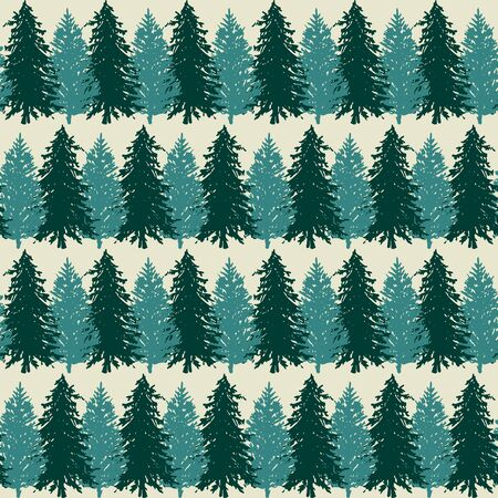 Monochrome spruce fir tree silhouette sketched line art seamless pattern background vector.