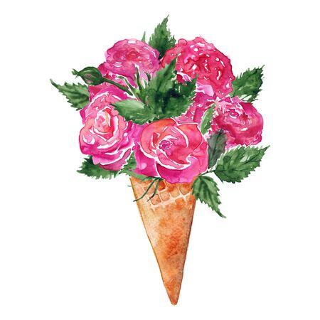 Watercolor flower bouquet peony rose carnation ice-cream waffle sweet dessert isolated.