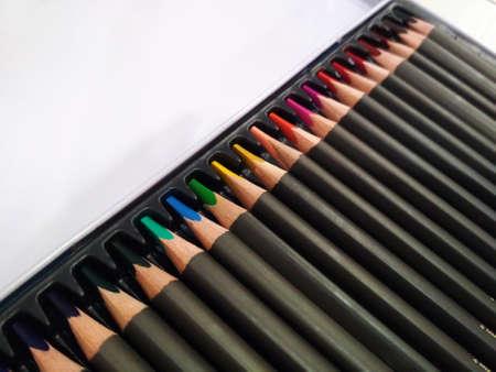 Palette color watercolor pencil art drawing background macro photo.