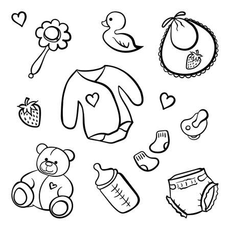 Cartoon newborn baby clothes toys things monochrome black and white isolated line art vector icon set.