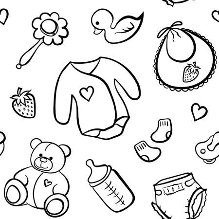 Cartoon newborn baby clothes toys things monochrome black and white line art vector seamless pattern texture background.