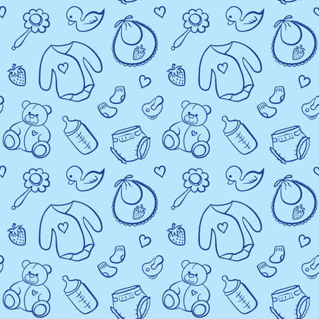 Cartoon newborn baby boy clothes toys things monochrome blue line art vector seamless pattern texture background.