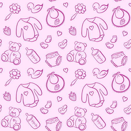 Cartoon newborn baby girl clothes toys things monochrome pink line art vector seamless pattern texture background.