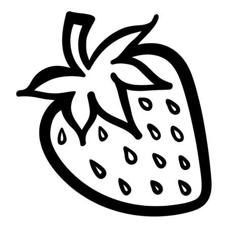 Strawberry berry monochrome black and white isolated sketch line art vector icon.